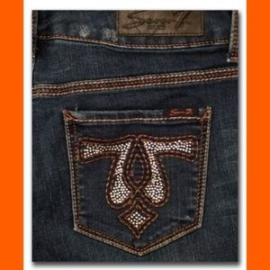 7 For All Mankind Amber Embellished Boot Cut Jeans